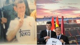 Gareth Bale is unveiled alongside an old photo of him wearing a Real Madrid kit as a 15-year-old.