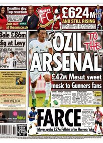 The Sun plays on the famous 'One-nil to the Arsenal' chant