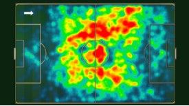 Heat map showing Marouane Fellaini's touches during the last three Premier League seasons for Everton.