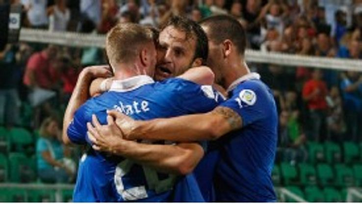 Alberto Gilardino celebrates after putting Italy ahead against Bulgaria.