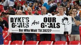 Fans hold up a banner in response to FA chairman Greg Dyke's stated aim of winning the World Cup in 2022.