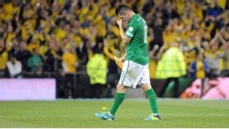 Ireland's Robbie Keane shows his disappointment.