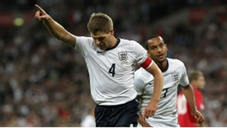 Steven Gerrard celebrates after giving England the early lead.