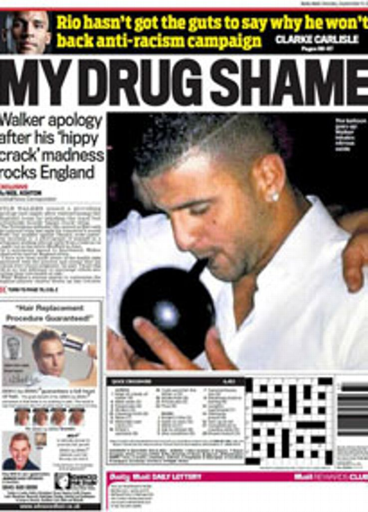 The Daily Mail's back page showed a picture of Walker on a night out in Sheffield.