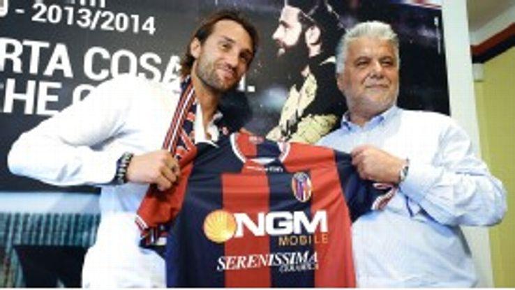 Bologna president Albano Guaraldi presents summer signing Rolando Bianchi to the media.