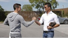 Gareth Bale and Cristiano Ronaldo shared a handshake at the Real Madrid training ground on Wednesday.