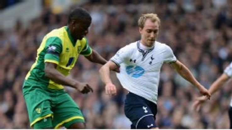 Christian Eriksen made his Spurs debut against Norwich.