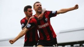 Gareth McAuley celebrates his last-ditch equaliser for West Brom at Craven Cottage.