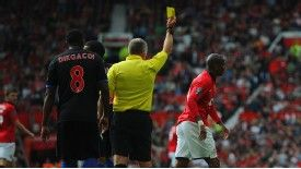 Ashley Young was booked for simulation during the 2-0 victory over Crystal Palace.