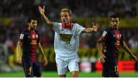 Ivan Rakitic saw an equaliser controversially disallowed during Sevilla's defeat at the Camp Nou.