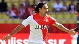 Radamel Falcao celebrates after converting an early penalty for Monaco.