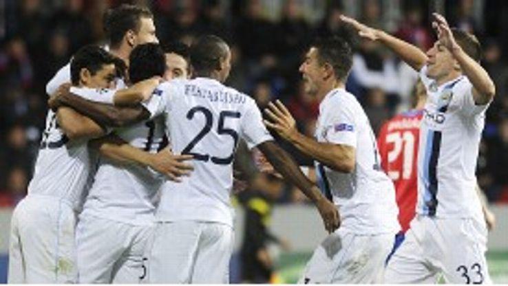 Joy for Manchester City after Edin Dzeko scored their first goal at Plzen.