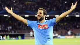 Gonzalo Higuain celebrates after scoring against Dortmund.