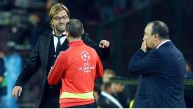 Jurgen Klopp argues with a UEFA official before being sent off at Napoli.