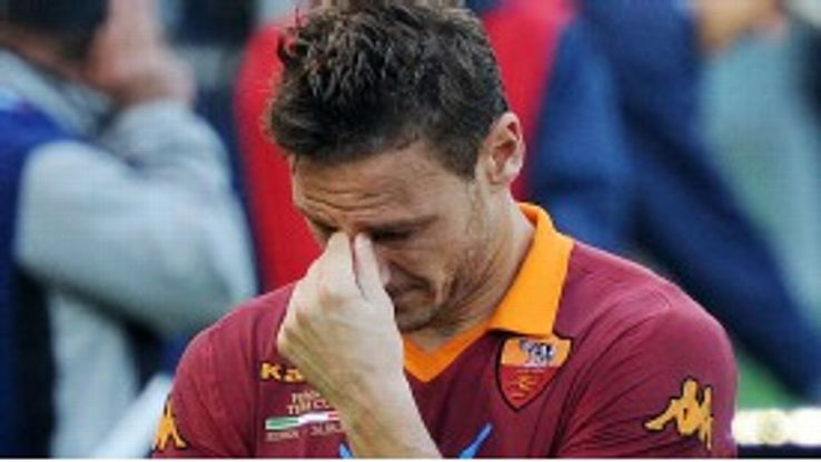 Totti shed tears at the end of the final defeat to local rivals Lazio last season.