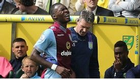 Christian Benteke limped off in the first half at Norwich.