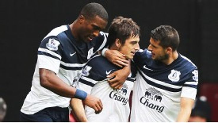 Leighton Baines is mobbed after his fine free-kick levelled for Everton at West Ham.