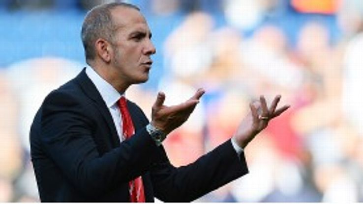 Paolo Di Canio gestures to Sunderland fans after their 3-0 loss at West Brom.