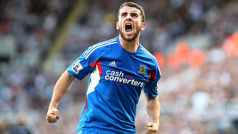 Robbie Brady celebrates after bringing Hull back on level terms at Newcastle.