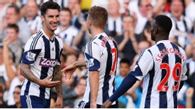West Brom celebrate after Liam Ridgewell doubled their lead against Sunderland.