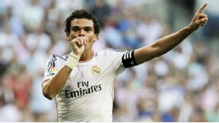 Pepe celebrates after bringing Real Madrid back on level terms against Getafe.