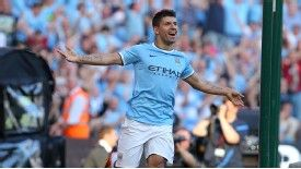 Sergio Aguero struck his second and City's third goal against United.