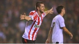 Valentin Roberge celebrates after doubling Sunderland's lead.