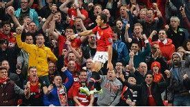 Javier Hernandez jumps for joy after scoring United's winner against Liverpool.