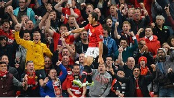 Javier Hernandez jumps for joy after scoring United's winner against Liverpool.