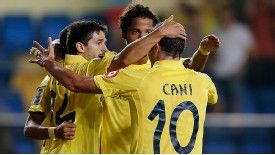Villareal revel in the spoils of victory.