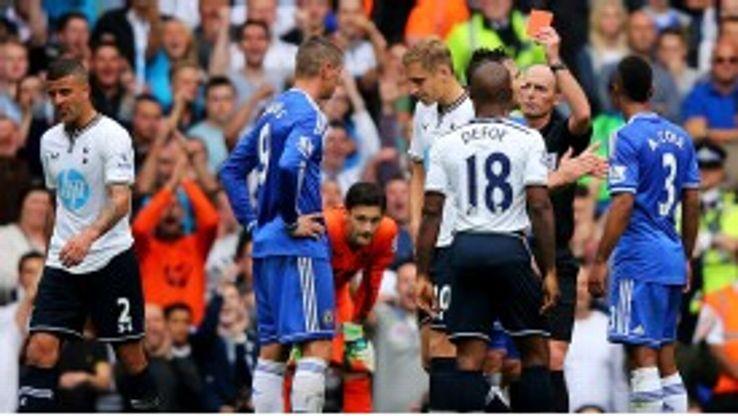 Fernando Torres  gets his marching orders.