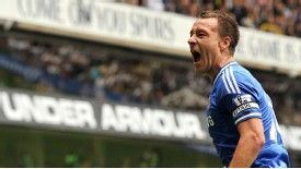 John Terry celebrates his equalising goal at White Hart Lane.