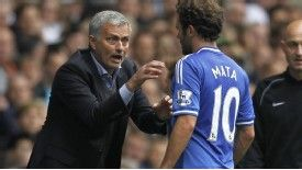 Jose Mourinho directs Juan Mata against Tottenham.