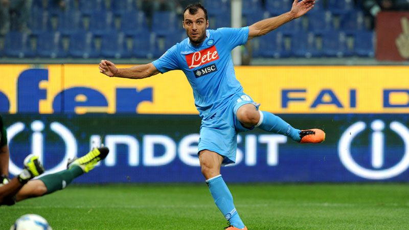 Goran Pandev scores Napoli's second goal against Genoa.