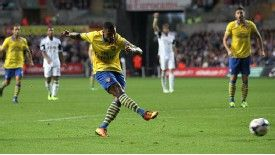 Serge Gnabry scores his side's first goal of the game