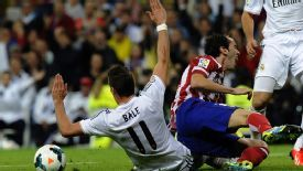 Diego Godin hurt his ankle in a challenge with Gareth Bale.