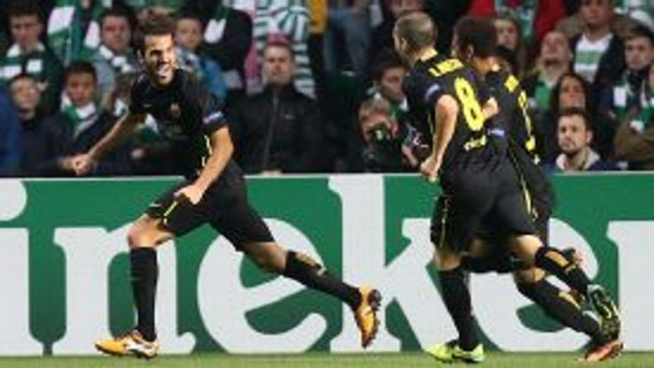 Barcelona celebrate Cesc Fabregas' winner at Celtic.