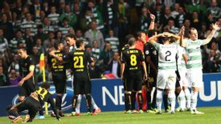 Neymar picks himself off the ground as Scott Brown is sent off.