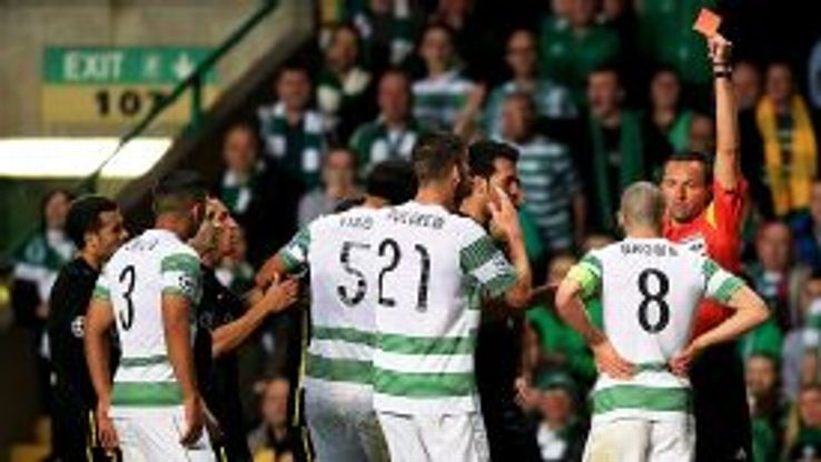 Scott Brown is given his marching orders for a challenge on Neymar.