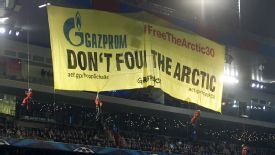 FC Basel's game against Schalke was disrupted by Greenpeace protesters.