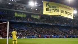 Greenpeace Gazprom protest banner Basel vs Schalke