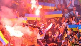 Ukraine supporters attend the World Cup qualification victory over San Marino on September 9.