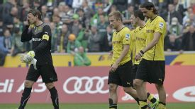 Borussia Dortmund show their disdain after suffering a 2-0 loss to Moenchengladbach.