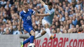 James McCarthy and Sergio Aguero do battle in the Premier League.