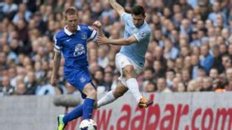 James McCarthy and Sergio Aguero do battle in the Premier League.