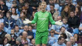 Joe Hart during Man City's Premier League game against Everton.