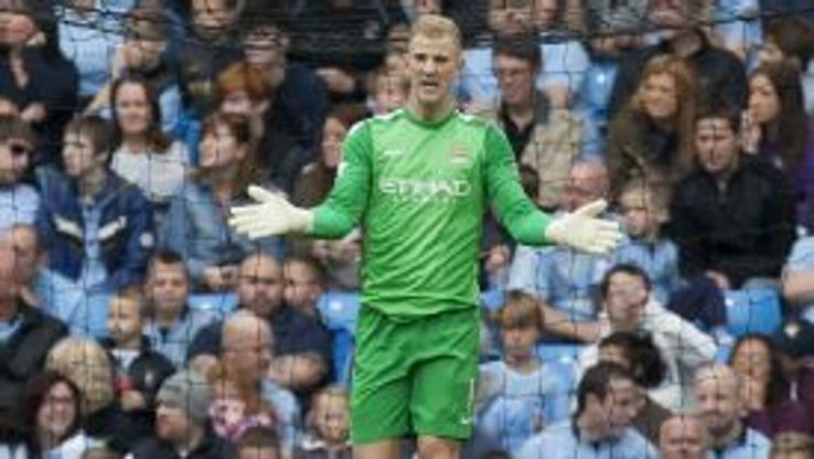 Joe Hart during Man City's Premier League game against Everton.