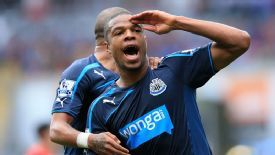 Loic Remy celebrates his opening goal for Newcastle against Cardiff.