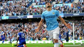 Sergio Aguero celebrates his goal against Everton.