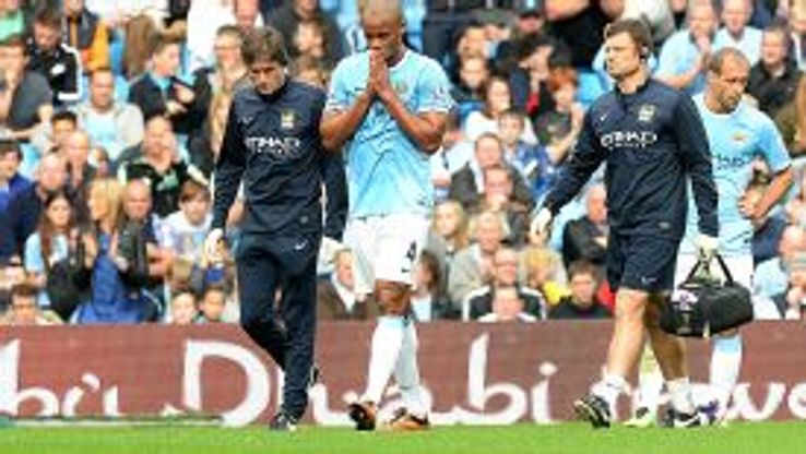 Man City captain Vincent Kompany was injured during the game against Everton.
